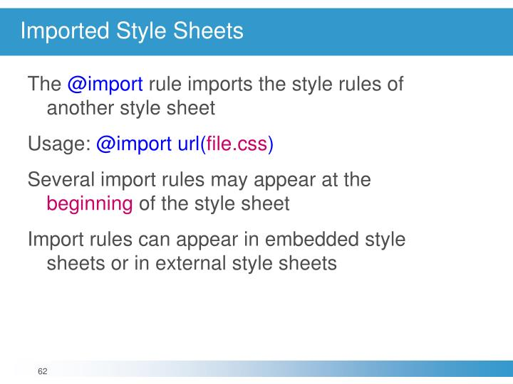 Imported Style Sheets