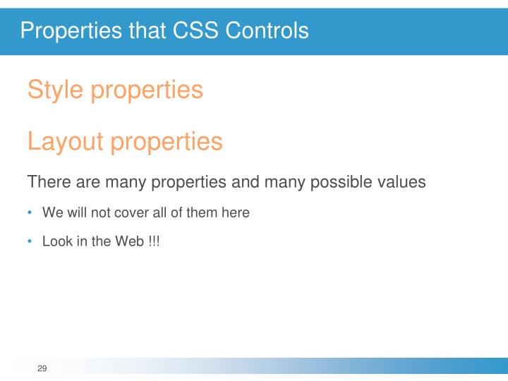 Properties that CSS Controls