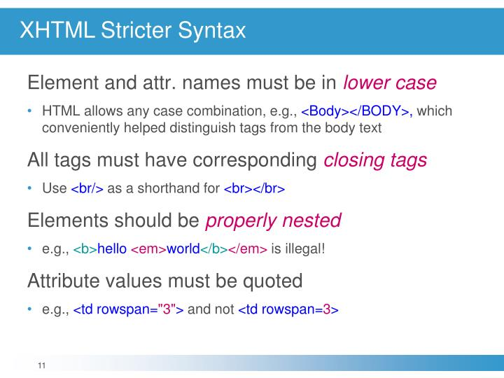 XHTML Stricter Syntax