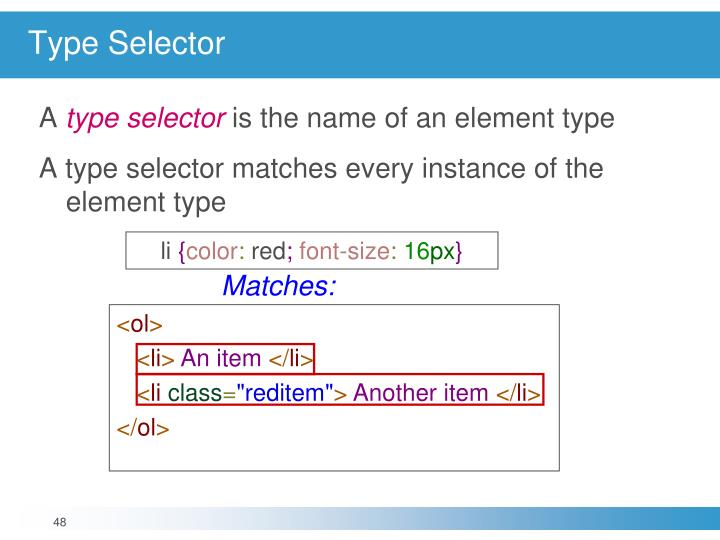 Type Selector