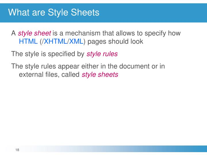 What are Style Sheets