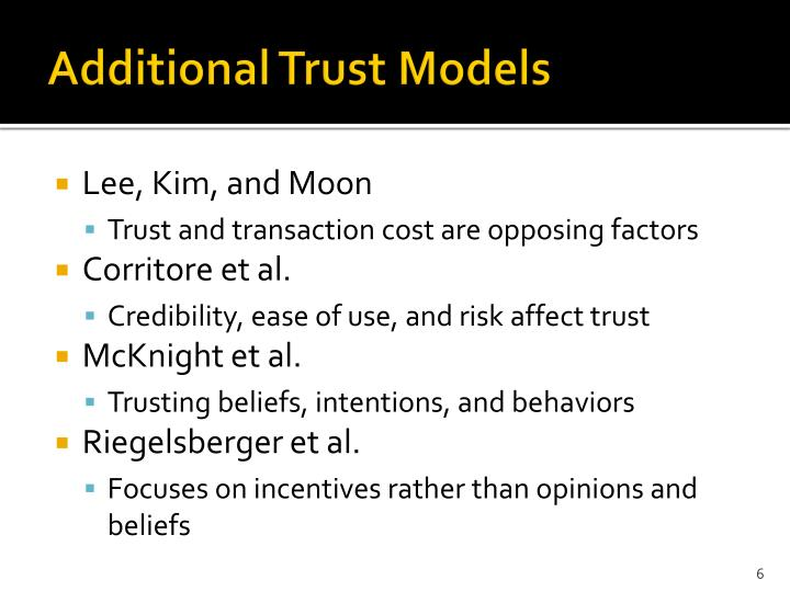 Additional Trust Models