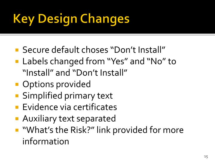 Key Design Changes