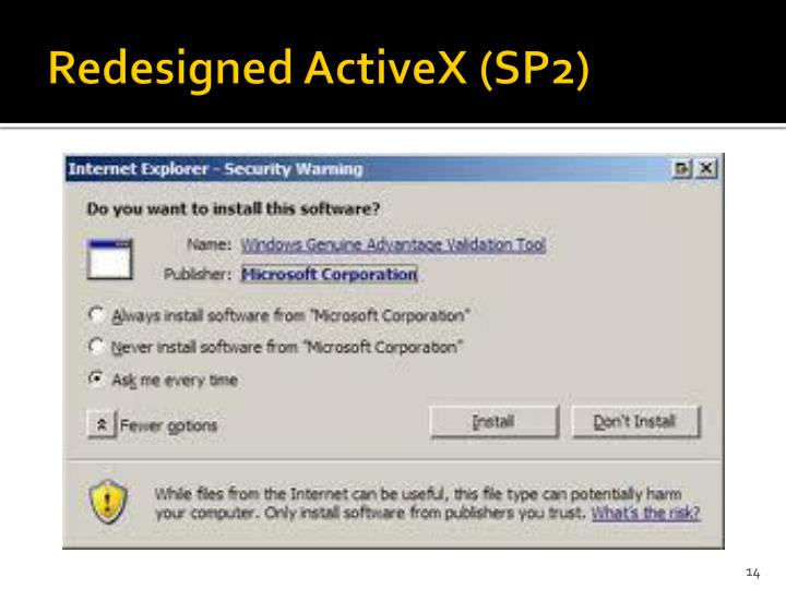 Redesigned ActiveX (SP2)