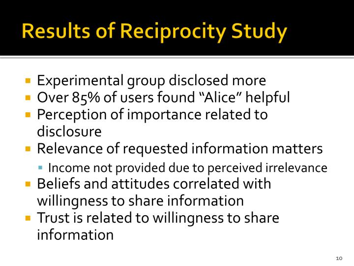 Results of Reciprocity Study