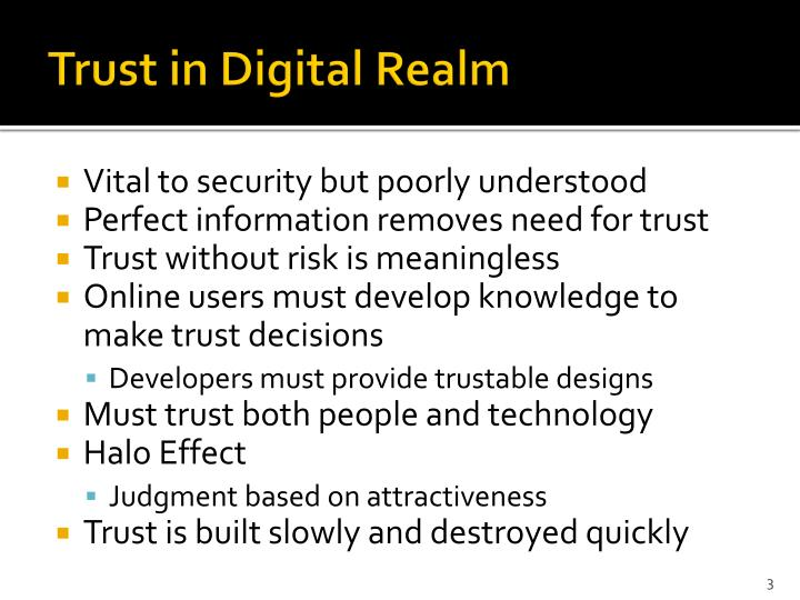 Trust in digital realm