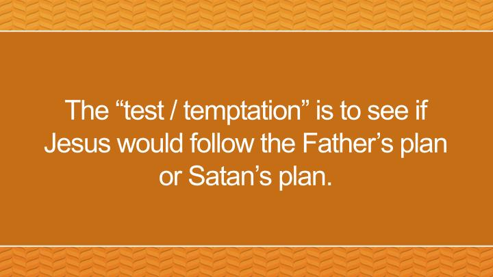 "The ""test / temptation"" is to see if Jesus would follow the Father's plan or Satan's plan."