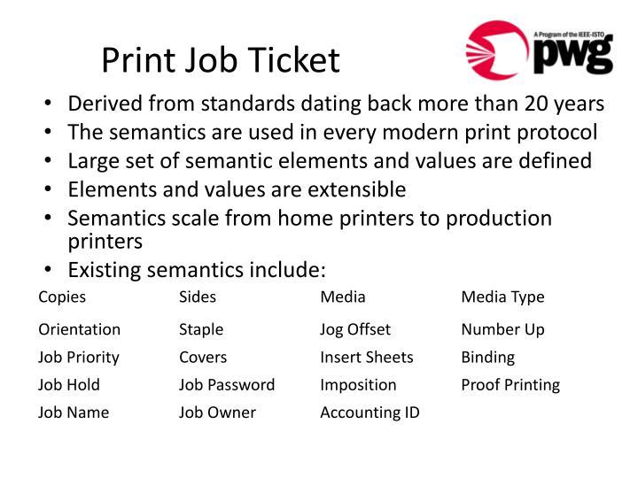 Print Job Ticket