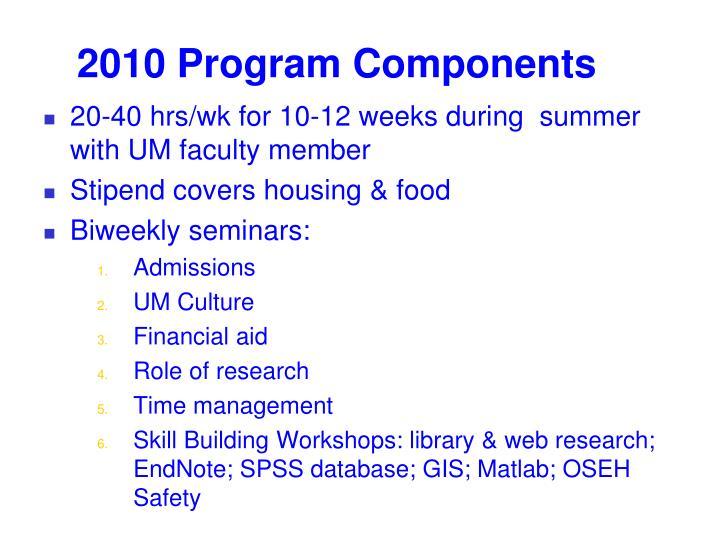 2010 Program Components