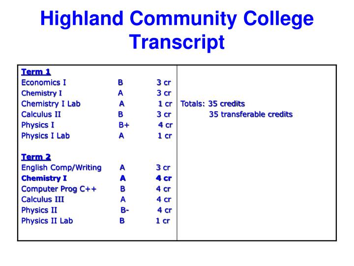 Highland Community College Transcript
