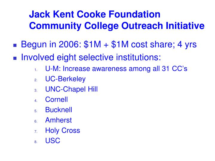 Jack kent cooke foundation community college outreach initiative
