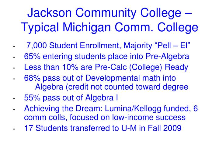 Jackson Community College –  Typical Michigan Comm. College