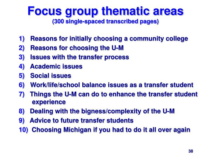 Focus group thematic areas