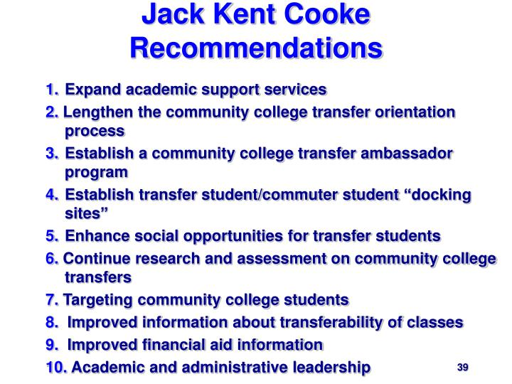 Jack Kent Cooke Recommendations