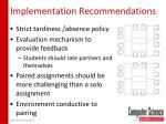 implementation recommendations