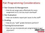 pair programming considerations