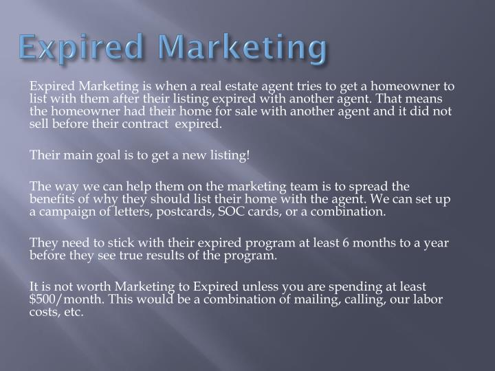 Expired marketing