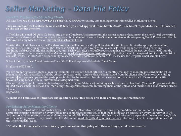 Seller Marketing – Data File Policy