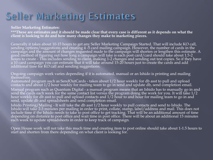 Seller Marketing Estimates