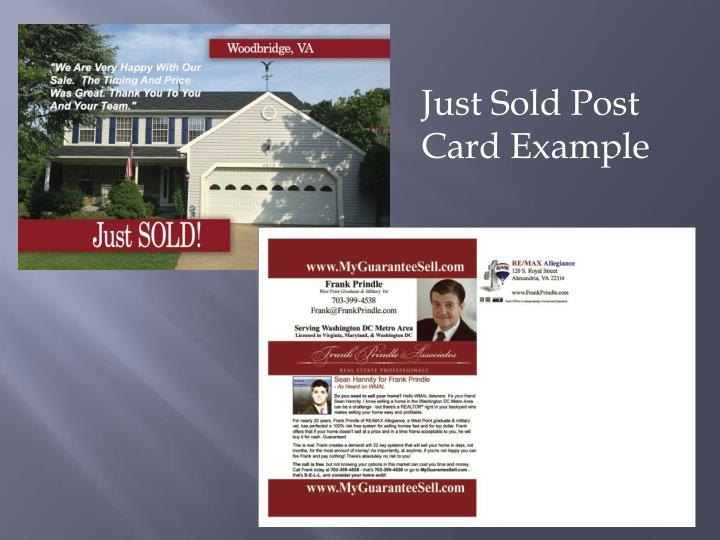 Just Sold Post Card Example