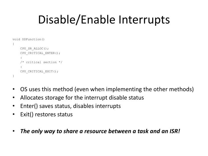 Disable/Enable Interrupts