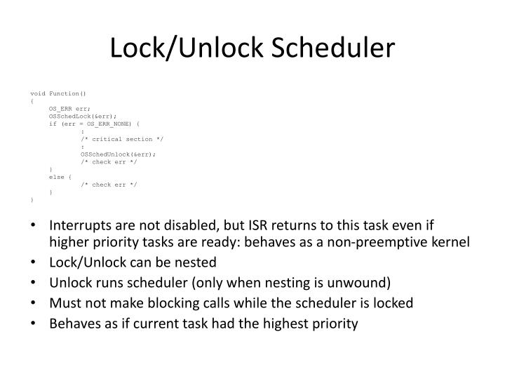 Lock/Unlock Scheduler