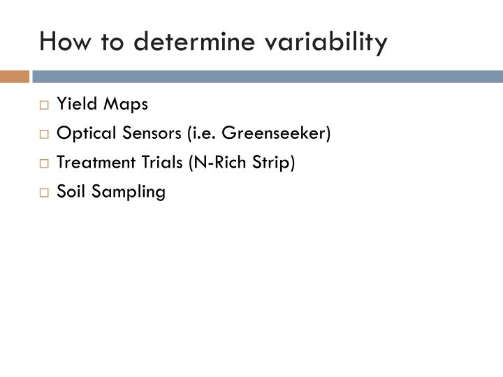 How to determine variability