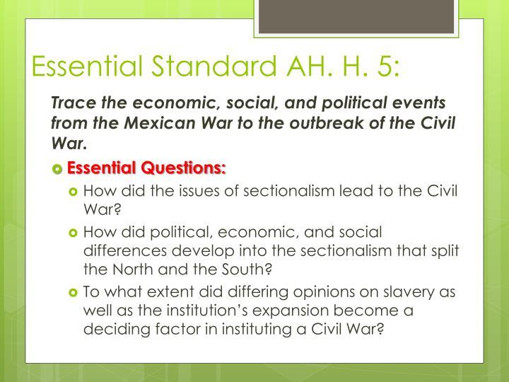 Essential Standard AH. H. 5: