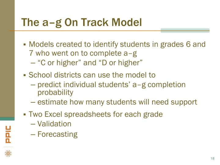 The a–g On Track Model