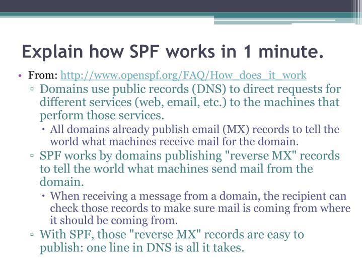 Explain how SPF works in 1 minute.