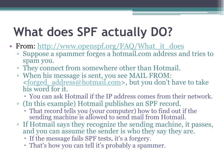 What does SPF actually DO?