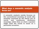 what does a semantic analysis focus on