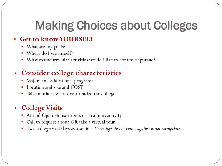 Making Choices about Colleges