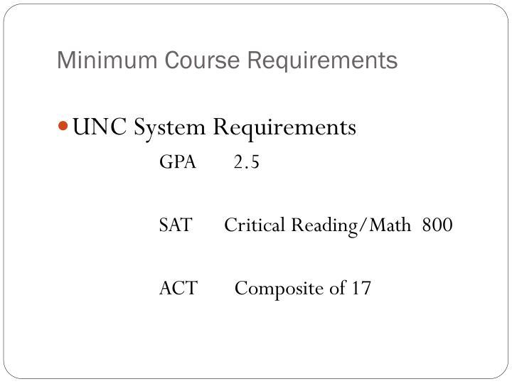 Minimum Course Requirements