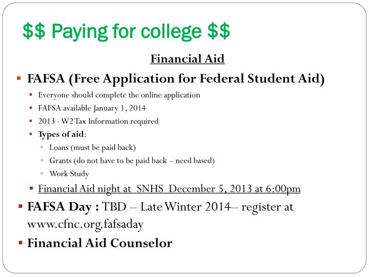 $$ Paying for college $$
