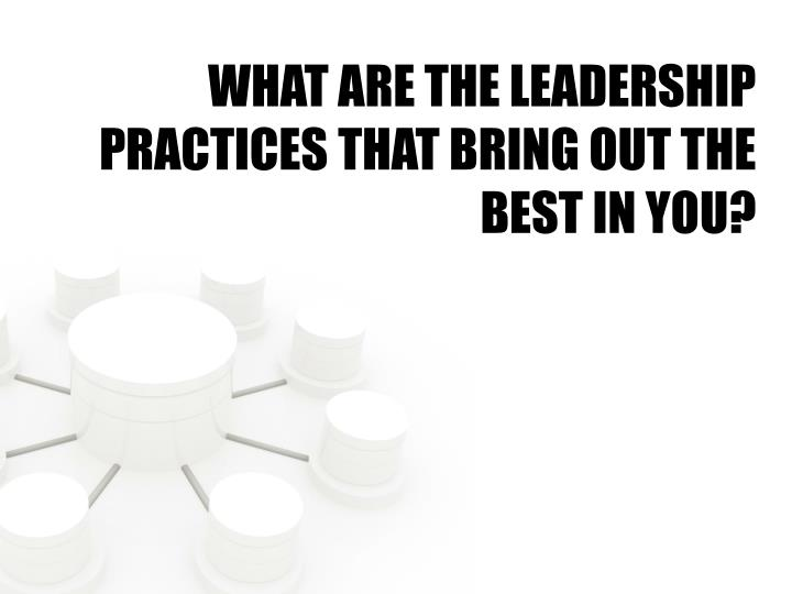WHAT ARE THE LEADERSHIP PRACTICES THAT BRING OUT THE BEST IN YOU?
