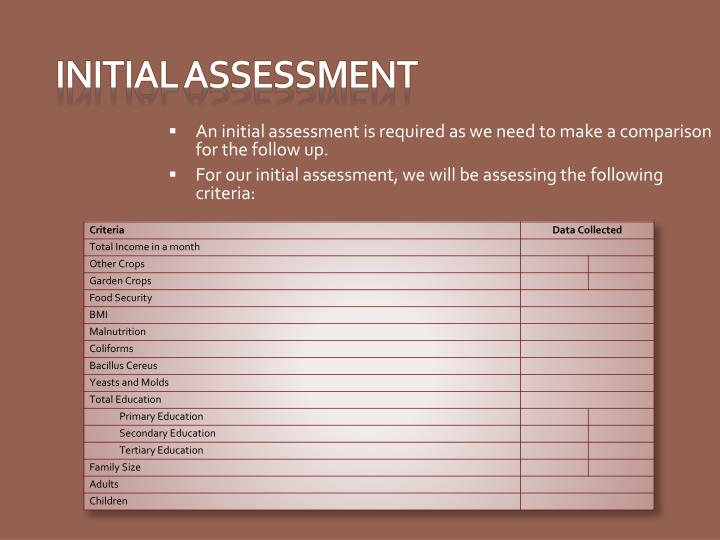 An initial assessment is required as we need to make a comparison for the follow up.