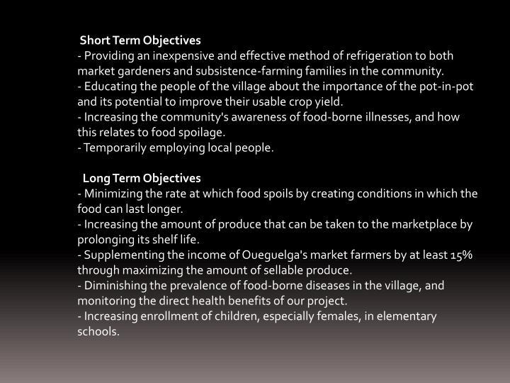 Short Term Objectives