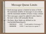 message queue limits