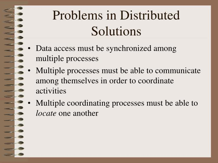 Problems in Distributed Solutions