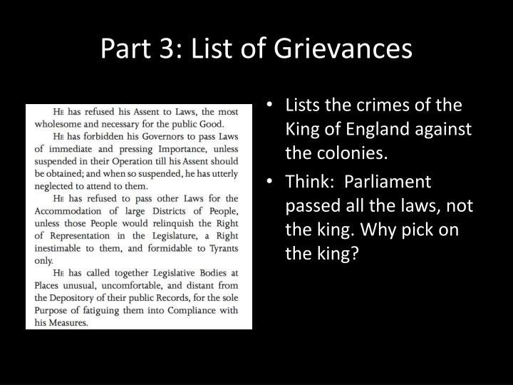 Part 3: List of Grievances