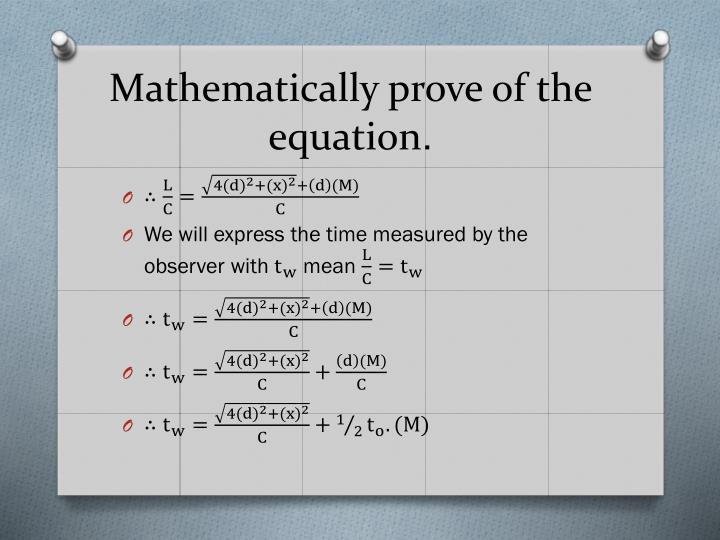 Mathematically prove
