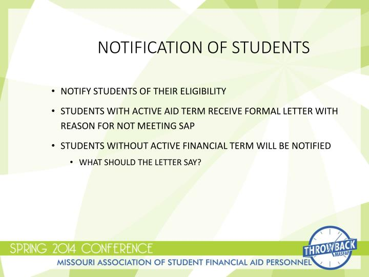 Notification of Students