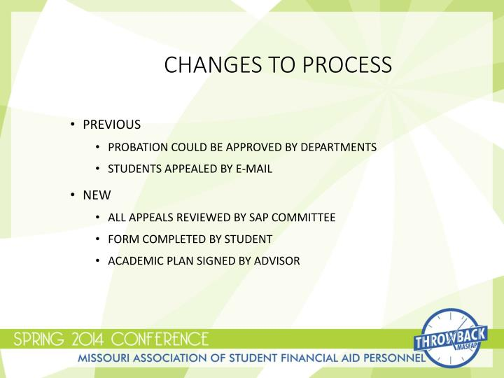Changes to Process