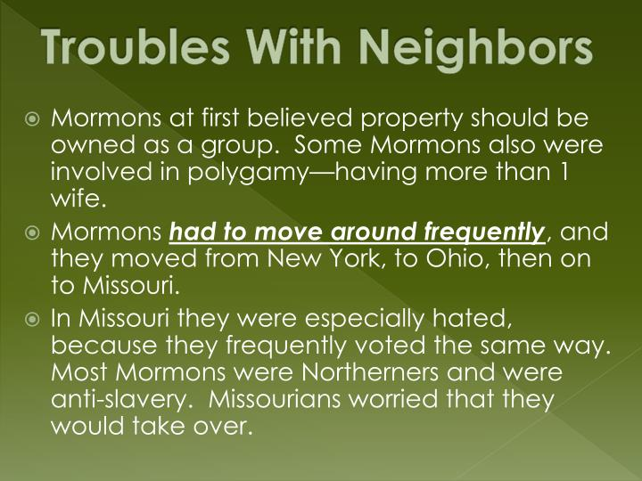 Troubles With Neighbors