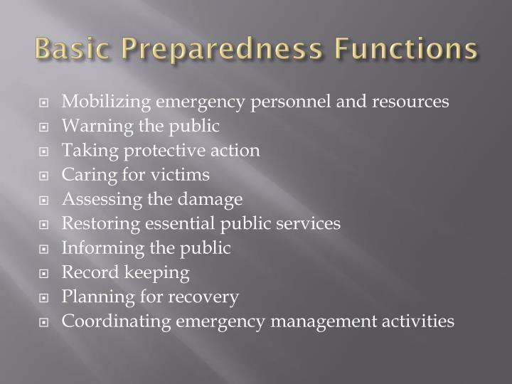 Basic Preparedness Functions