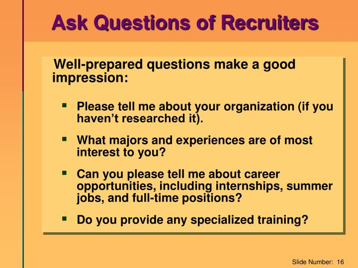 Ask Questions of Recruiters