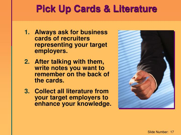 Pick Up Cards & Literature