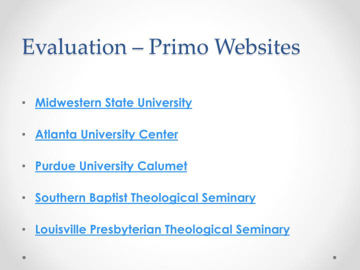 Evaluation – Primo Websites