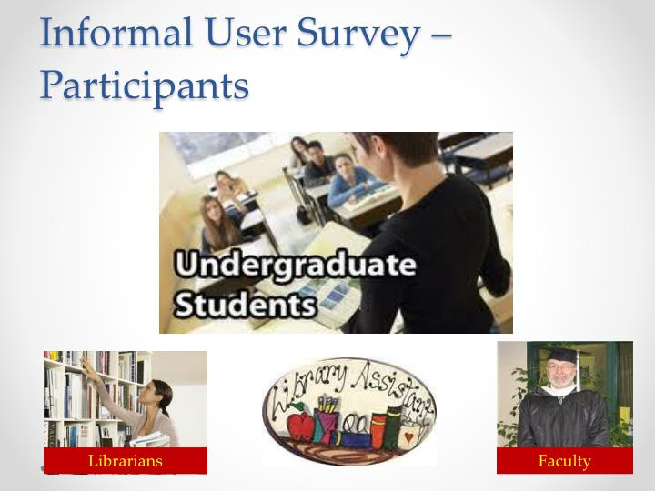 Informal user survey participants